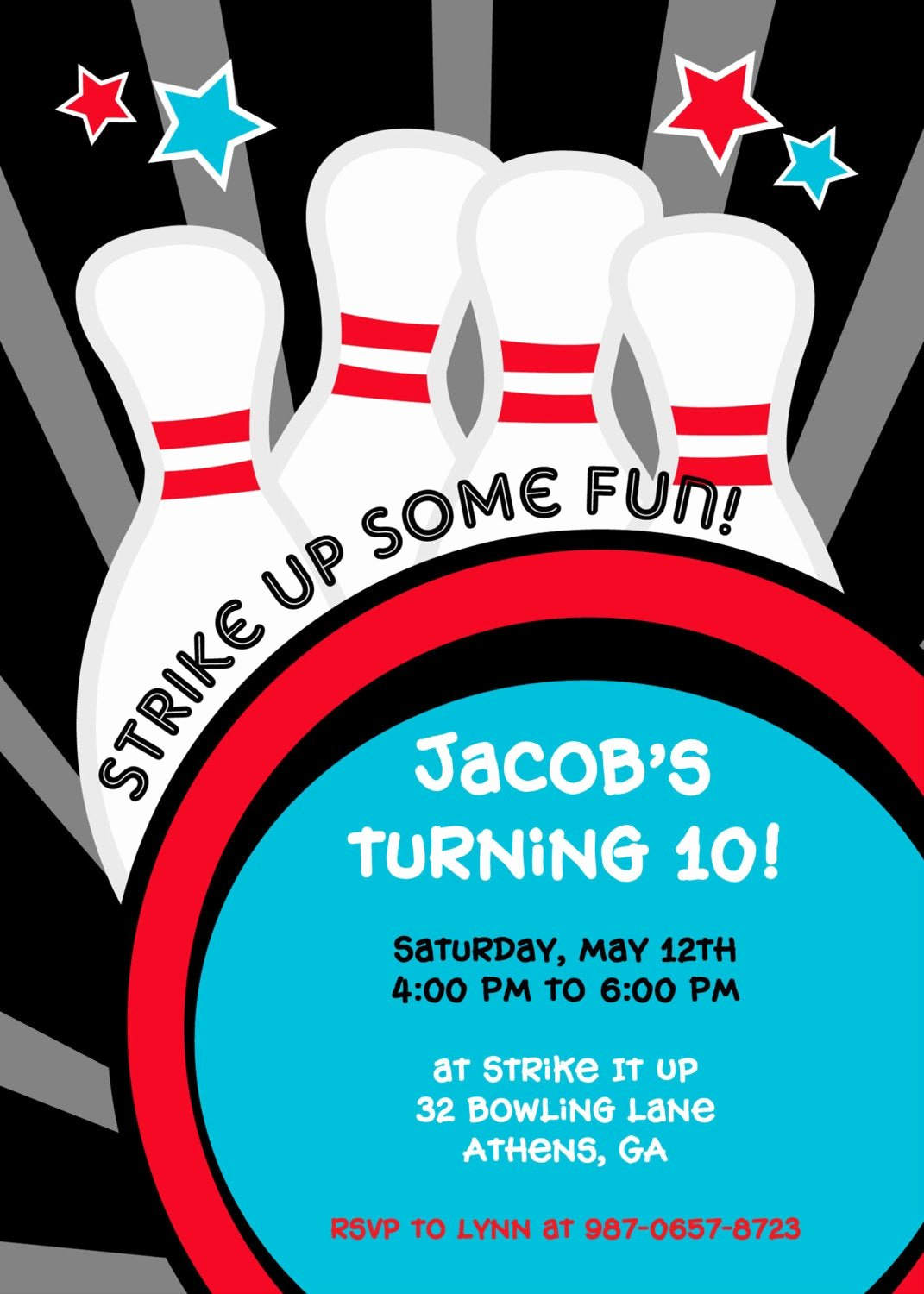 strike it up bowling party invitation