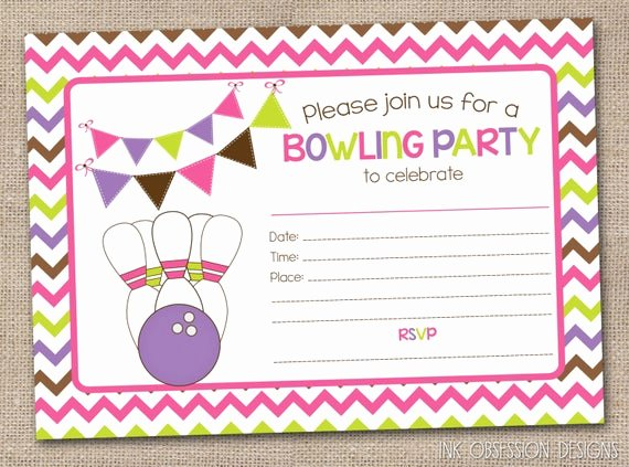 Bowling Party Invites Template Inspirational Printable Girls Bowling Party Invitation by