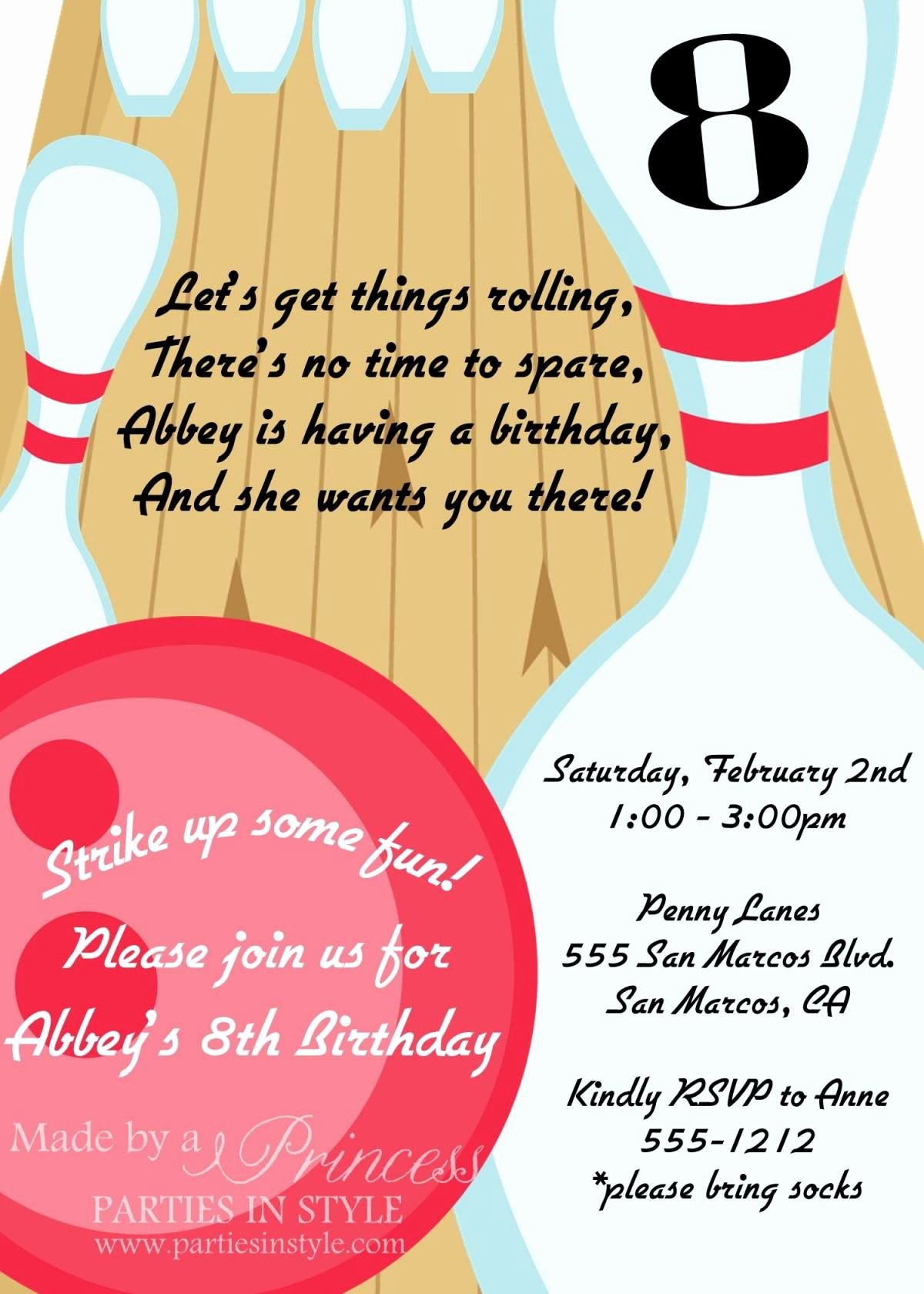 Bowling Party Invites Template Luxury Bowling Birthday Party Printable Invitation Diy
