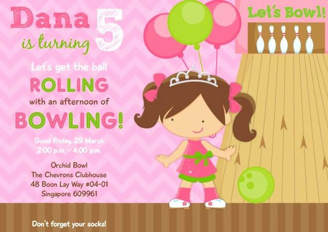 Bowling Party Invites Templates Beautiful Dana S 5th Birthday Bowling Party Princess & the Pins