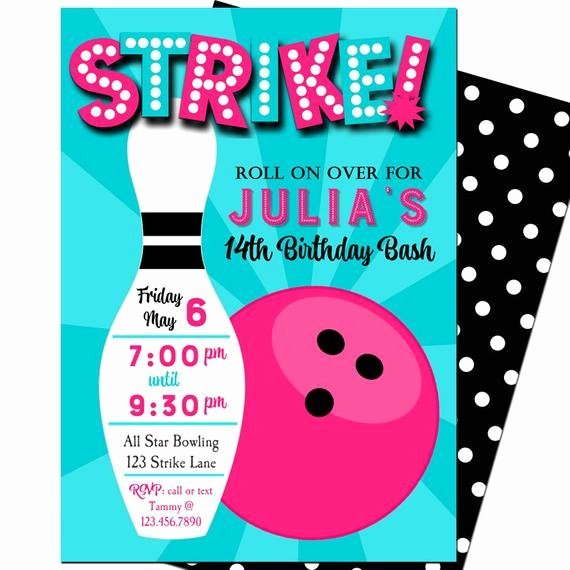 Bowling Party Invites Templates Best Of Bowling Invitation Printable or Printed with Free Shipping