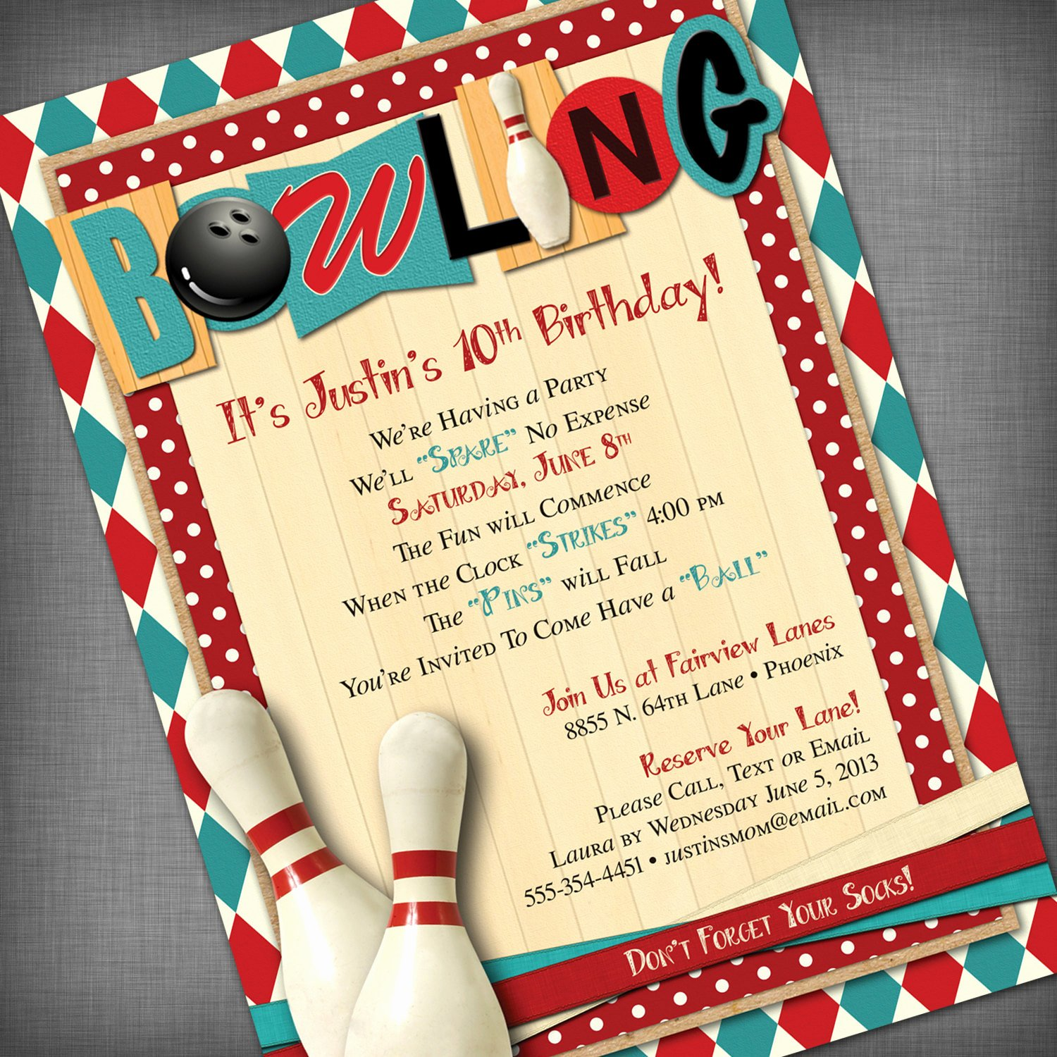 Bowling Party Invites Templates Inspirational Bowling Party Customized Printable Invitation