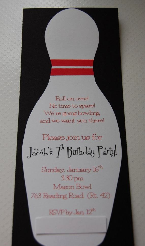 Bowling Party Invites Templates New Bowling Birthday Party Invitation 12 by Anygoodideas On Etsy