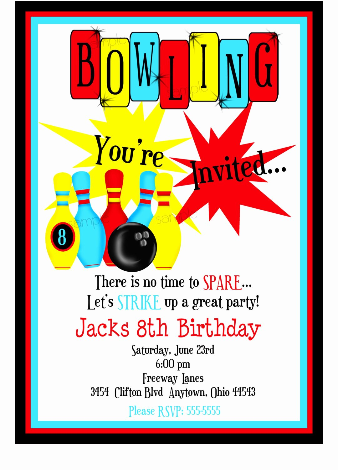 Bowling Party Invites Templates Unique Bowling Invitations Boys Bowling Birthday Party Cosmic