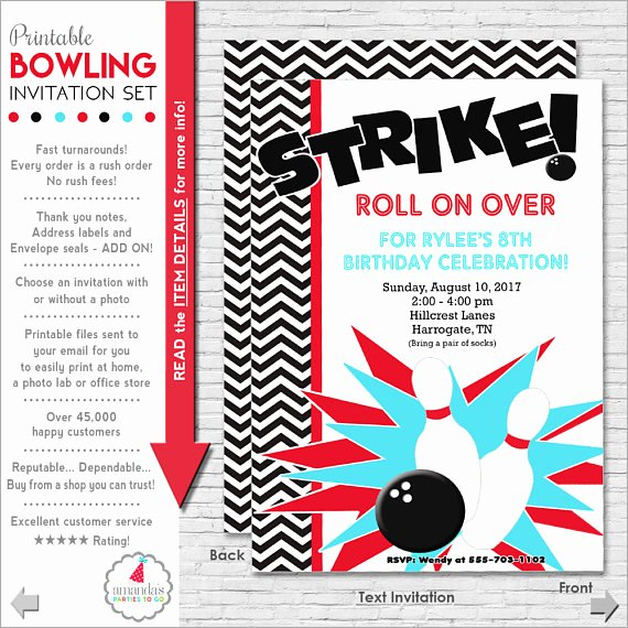 Bowling Party Invites Templates Unique Bowling Party Invitation Bowling Birthday Invitation