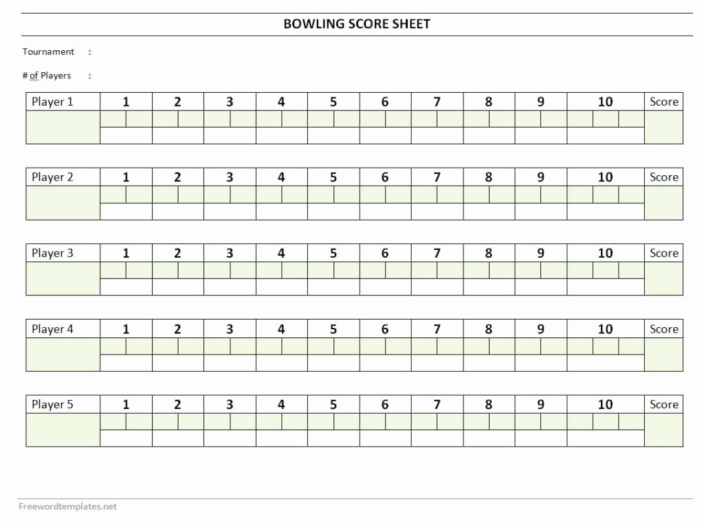 Bowling Scoring Sheet Excel New Bowling Score Sheet