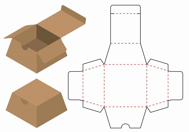Box Die Cut Template Awesome Box Packaging Cut Template Design Vector