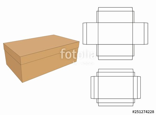 "Box Die Cut Template Beautiful ""shoe Box with Cut Template Design"" Stock Image and Royalty Free Vector Files On Fotolia"