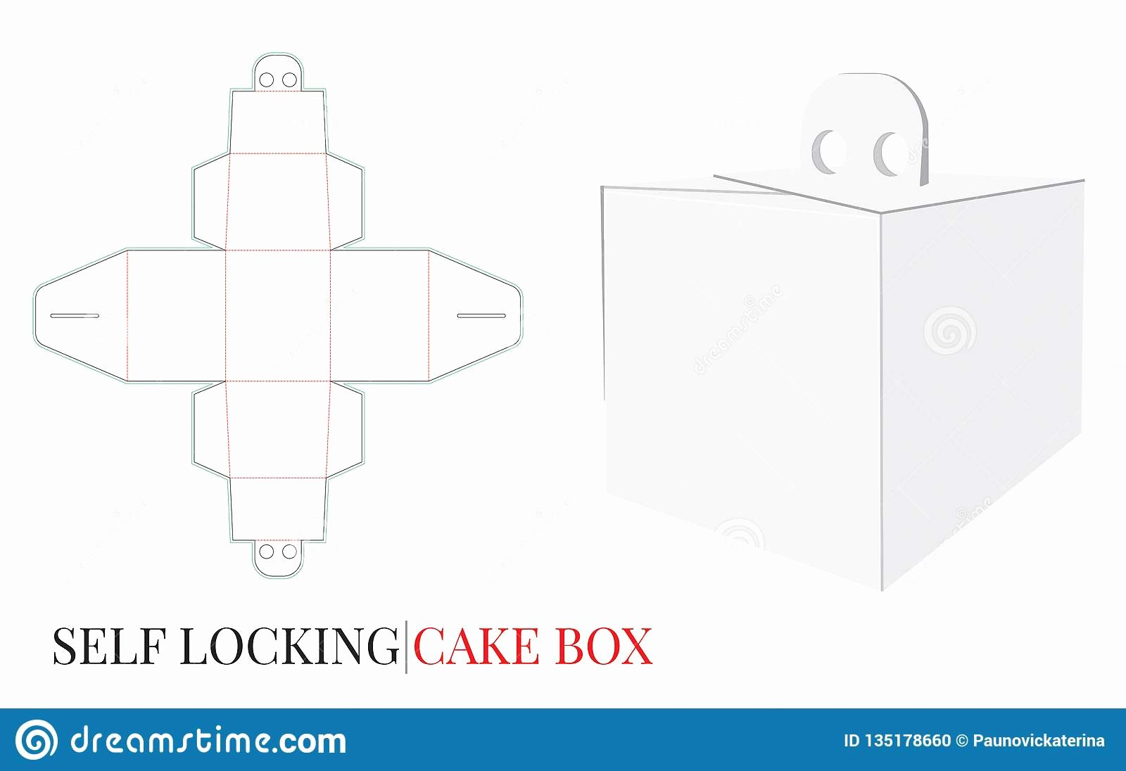 Box Die Cut Template Best Of Cake Box with Handle Template with Die Cut Lines Delivery Cake Box Self Locking Box Stock