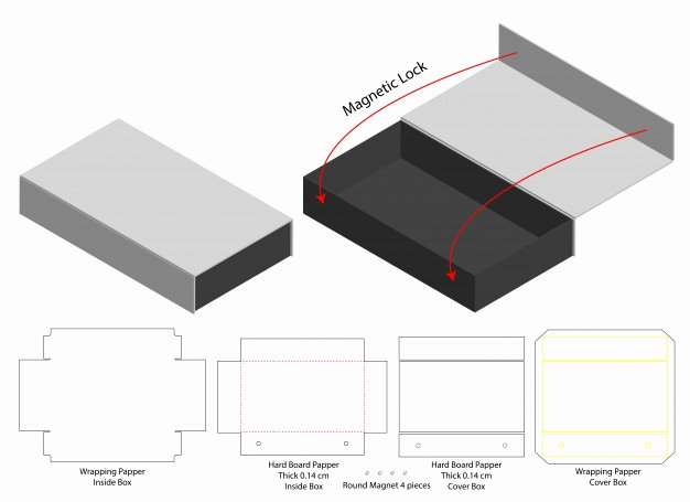 Box Die Cut Template Elegant Box Packaging Cut Template Design Vector