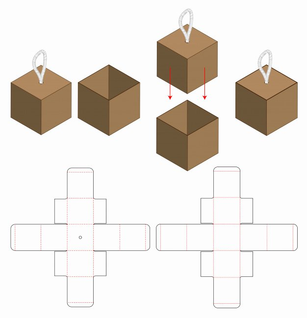 Box Die Cut Template Lovely Box Packaging Cut Template Design Vector