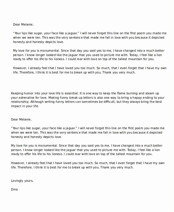 Break Up Letter Examples Awesome Break Up Letter Template 5 Free Word Pdf Document Downloads