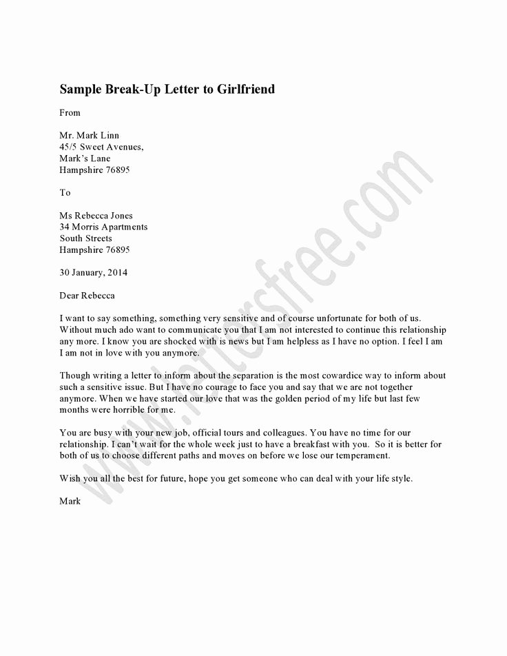Break Up Letter Examples Beautiful 7 Best Sample Break Up Letter Images On Pinterest