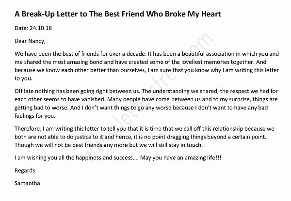 Break Up Letter Examples Elegant A Break Up Letter to the Best Friend who Broke My Heart