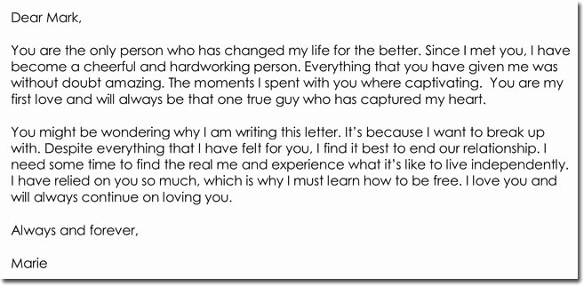Break Up Letter Examples Inspirational Break Up Letter Templates 8 Samples for Boyfriend Girlfriend Friend