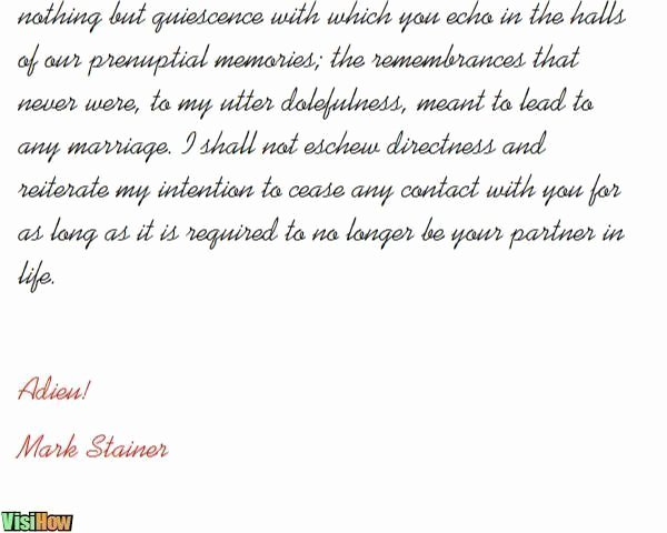 Break Up Letter Examples Lovely Write A Breakup Letter Visihow