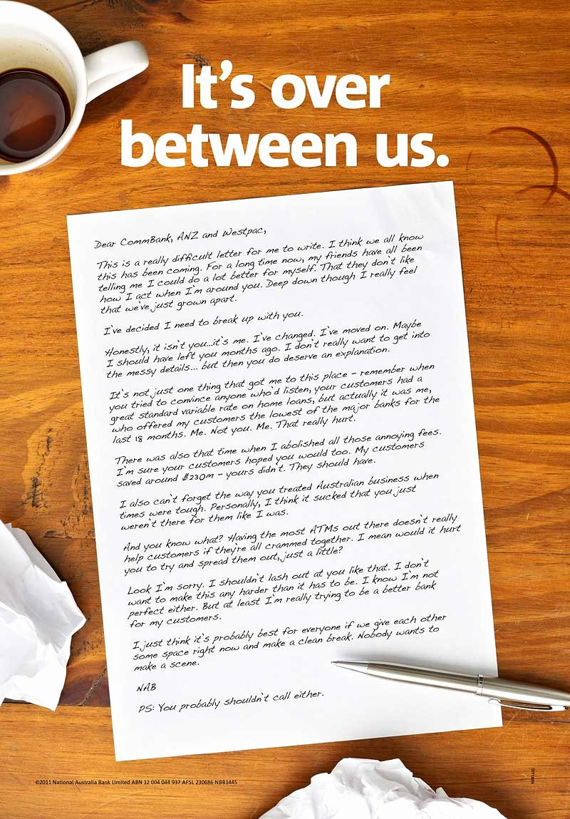 Break Up Letter Examples Luxury Bank S Massive Guerilla 'break Up' Campaign Mocks Petitors