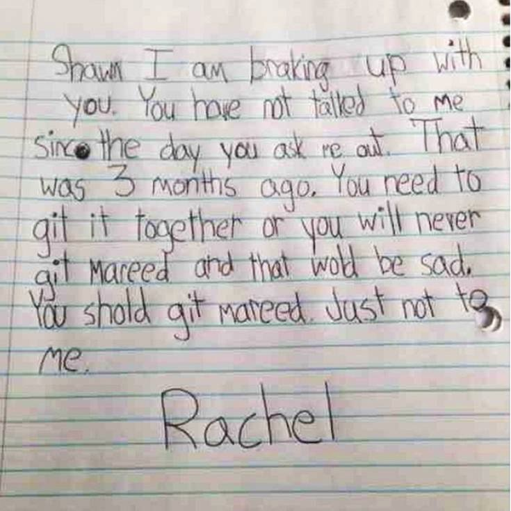 Break Up Letter to Boyfriend Awesome Kids Notes Little Girl Writes A Break Up Letter to Her No Good Boyfriend