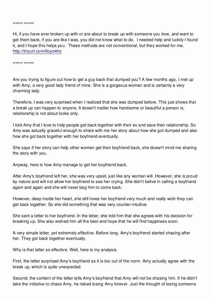 Break Up Letter to Boyfriend Inspirational How Amy Got Her Boyfriend Back