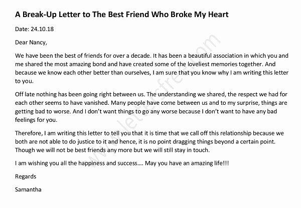 Break Up Letter to Boyfriend Lovely Sample Break Up Letter to Lover
