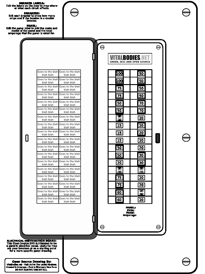 Breaker Panel Label Template Luxury Open source Svg Distribution Board Electrical Panel