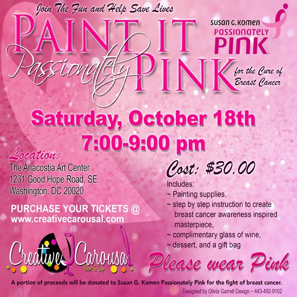 Breast Cancer Flyer Template Luxury Creative Carousal Paint and Sip Cc events