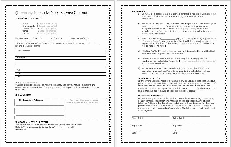 Bridal Makeup Contract Template Best Of Bridal Makeup Contract Template Docx File by Wwcinc On Etsy