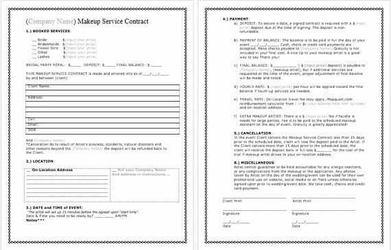 Bridal Makeup Contract Template New Bridal Makeup Contract Template Docx File