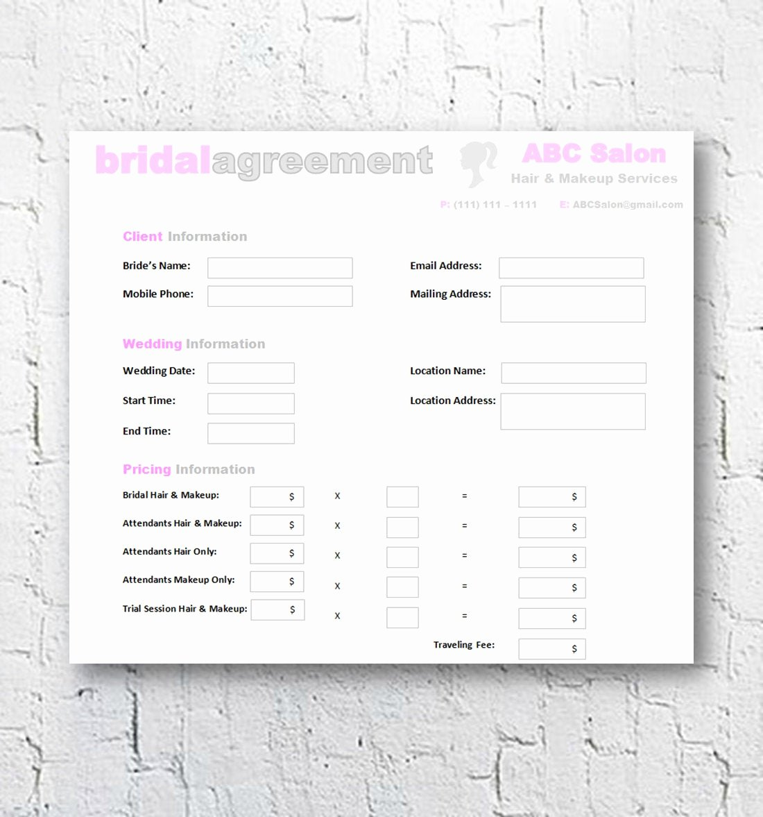 Bridal Makeup Contract Template New Hair Stylist & Makeup Artist Bridal Agreement Contract