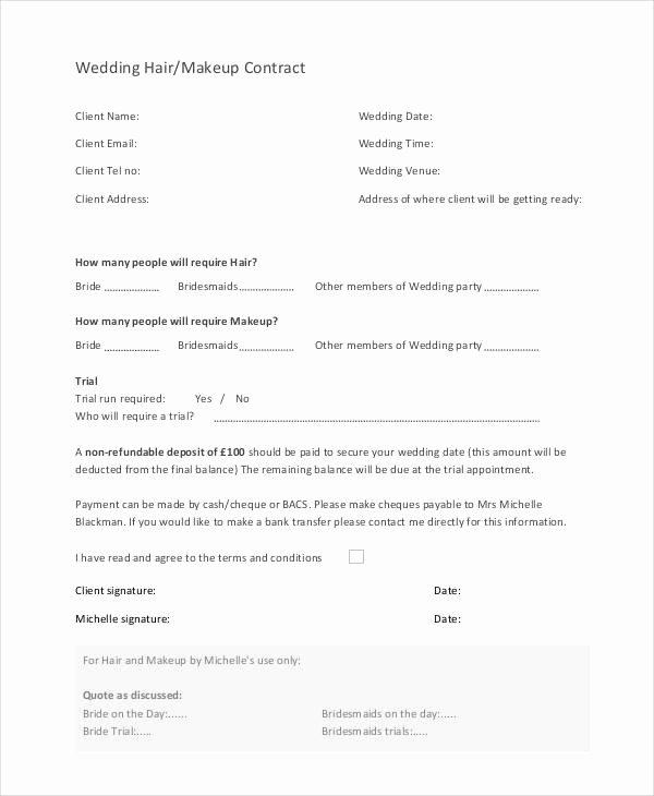 Bridal Makeup Contract Template Unique 9 Wedding Contract Samples Pdf Word Google Docs