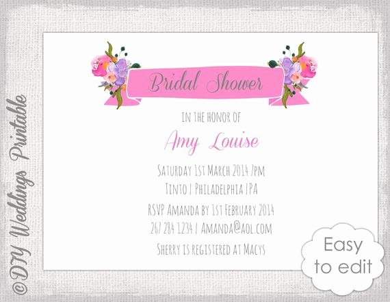 Bridal Shower Banner Template Beautiful Bridal Shower Invitation Template Watercolor Flower Banner