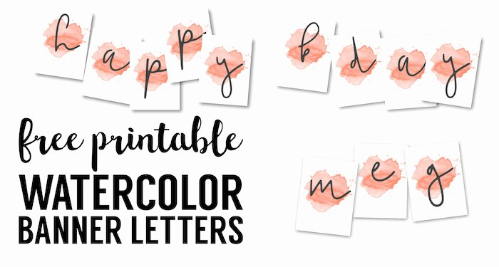 coral watercolor banner free printable