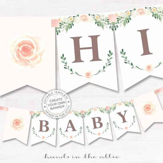 Bridal Shower Banner Template Beautiful Floral Baby Shower Banner Pink Rose Baby Shower Bridal Shower Banner Spring Celebration Editable