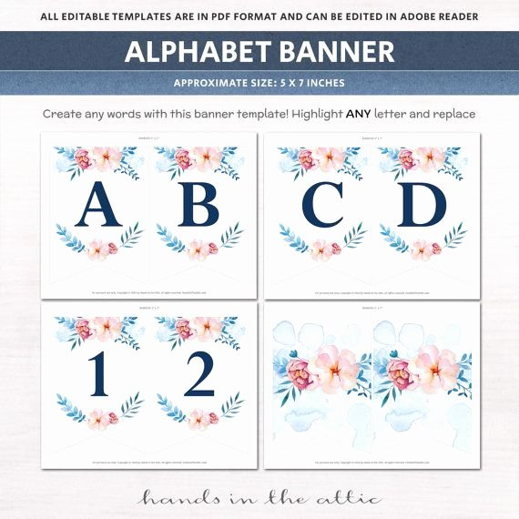 Bridal Shower Banner Template Inspirational Printable Floral Banner Template Couples Baby Shower Bridal Editable Alphabet Banner Navy