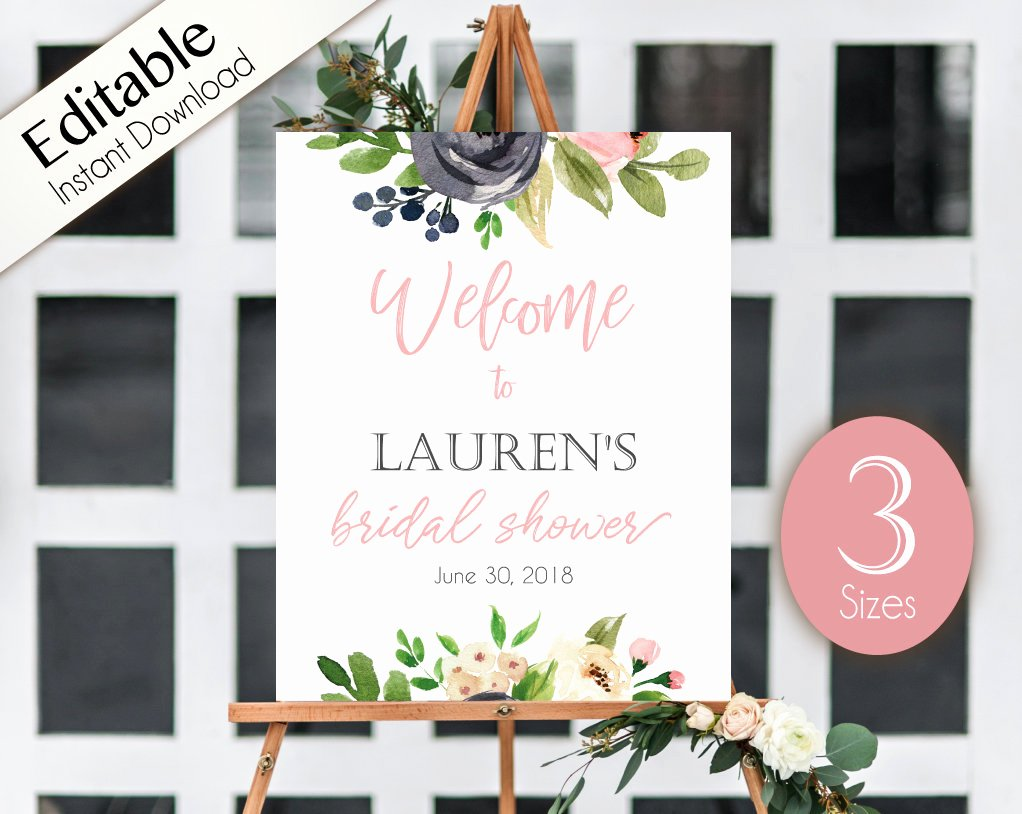 Bridal Shower Welcome Sign Template Awesome Wel E Sign Bridal Shower Template Bridal Shower Editable
