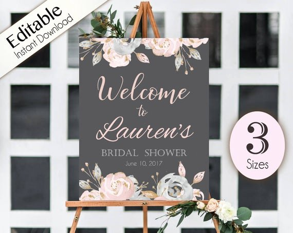 Bridal Shower Welcome Sign Template Awesome Wel E Sign Bridal Shower Template Editable Pdf Any event