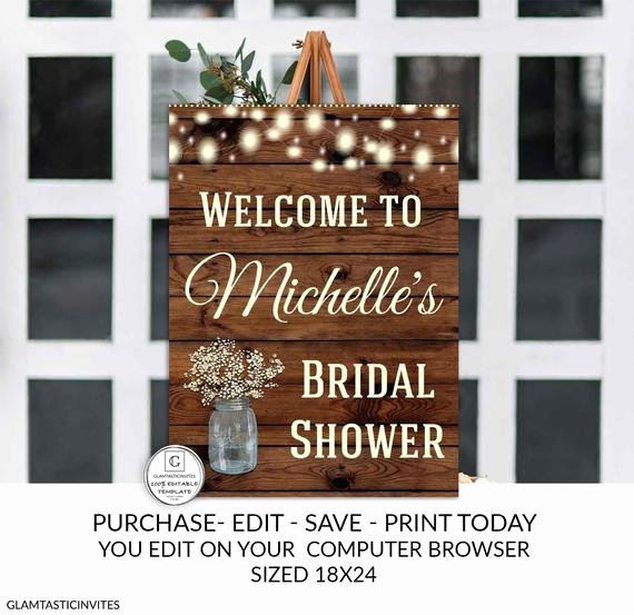 Bridal Shower Welcome Sign Template Beautiful Rustic Bridal Shower Wel E Sign Template Flower Bridal
