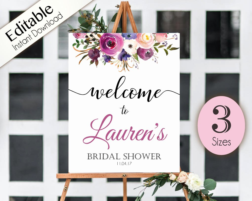 Bridal Shower Welcome Sign Template Beautiful Wel E Sign Bridal Shower Template Editable Pdf Any event