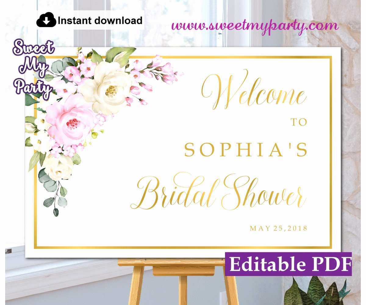Bridal Shower Welcome Sign Template Inspirational Pink Bridal Shower Wel E Sign White Pink Roses Bridal