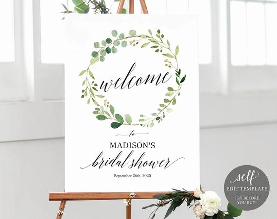 Bridal Shower Welcome Sign Template Lovely Greenery Bridal Shower Wel E Sign Template Printable