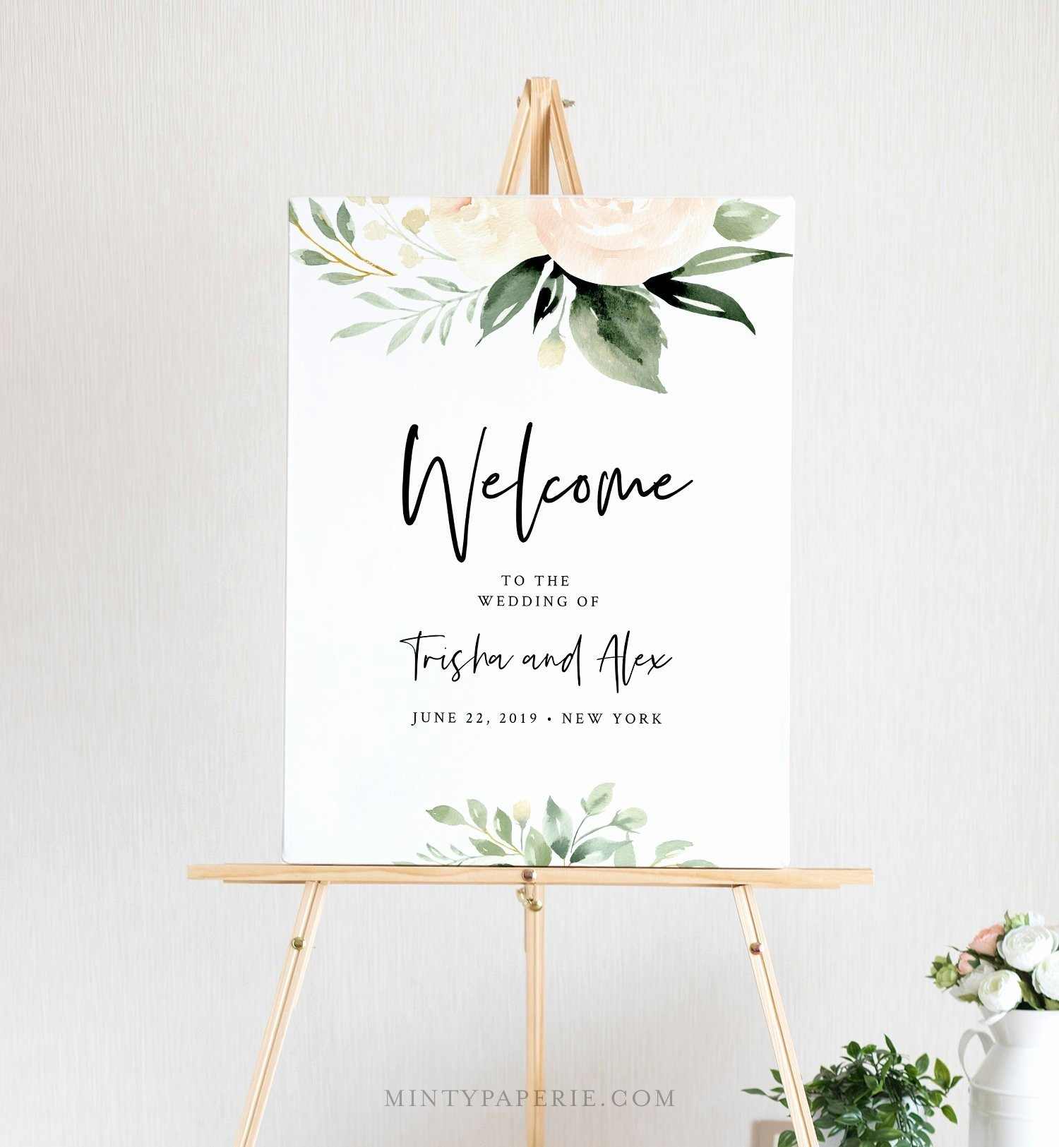 Bridal Shower Welcome Sign Template Lovely Greenery Wel E Sign Template Boho Wedding Poster