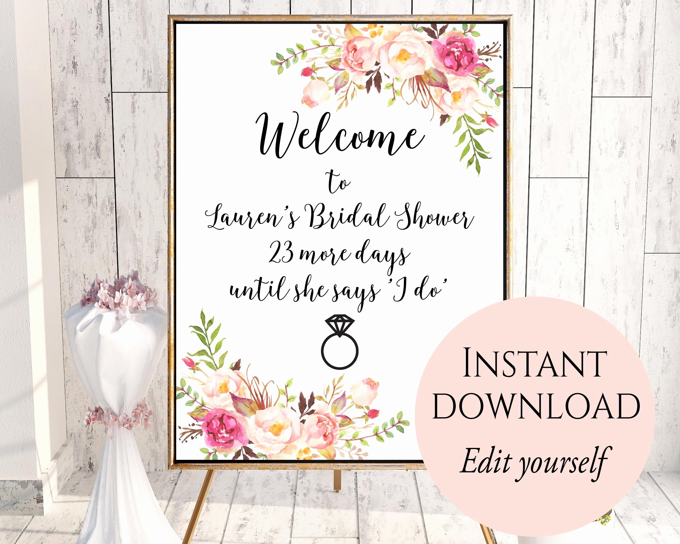 Bridal Shower Welcome Sign Template Lovely Wel E Sign Template Wel E Bridal Shower Sign Bridal