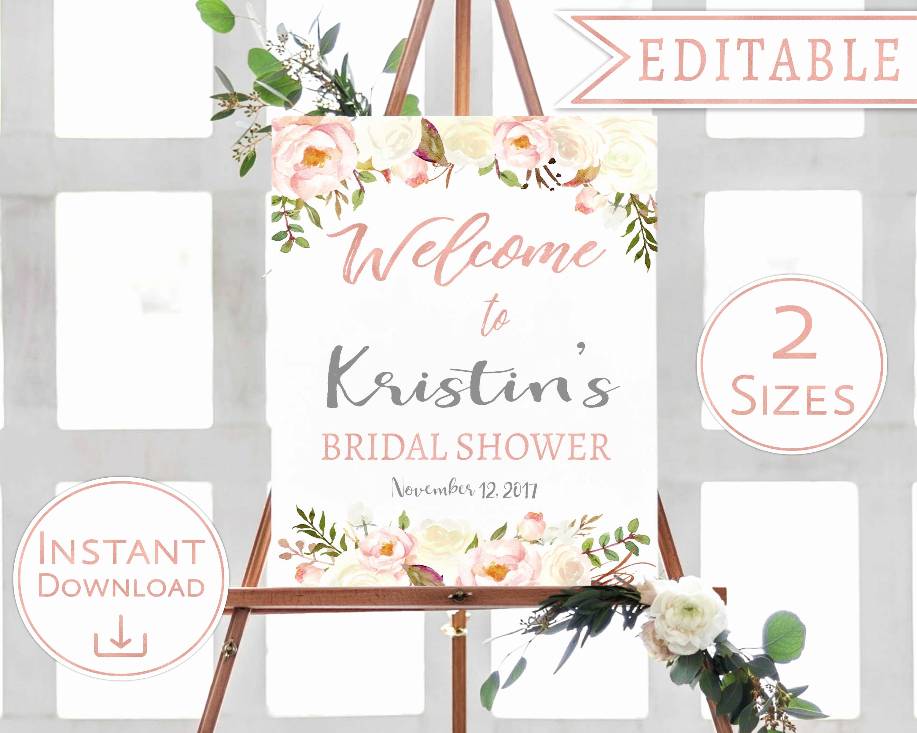 Bridal Shower Welcome Sign Template New Bridal Shower Wel E Sign Floral White Blush Watercolor