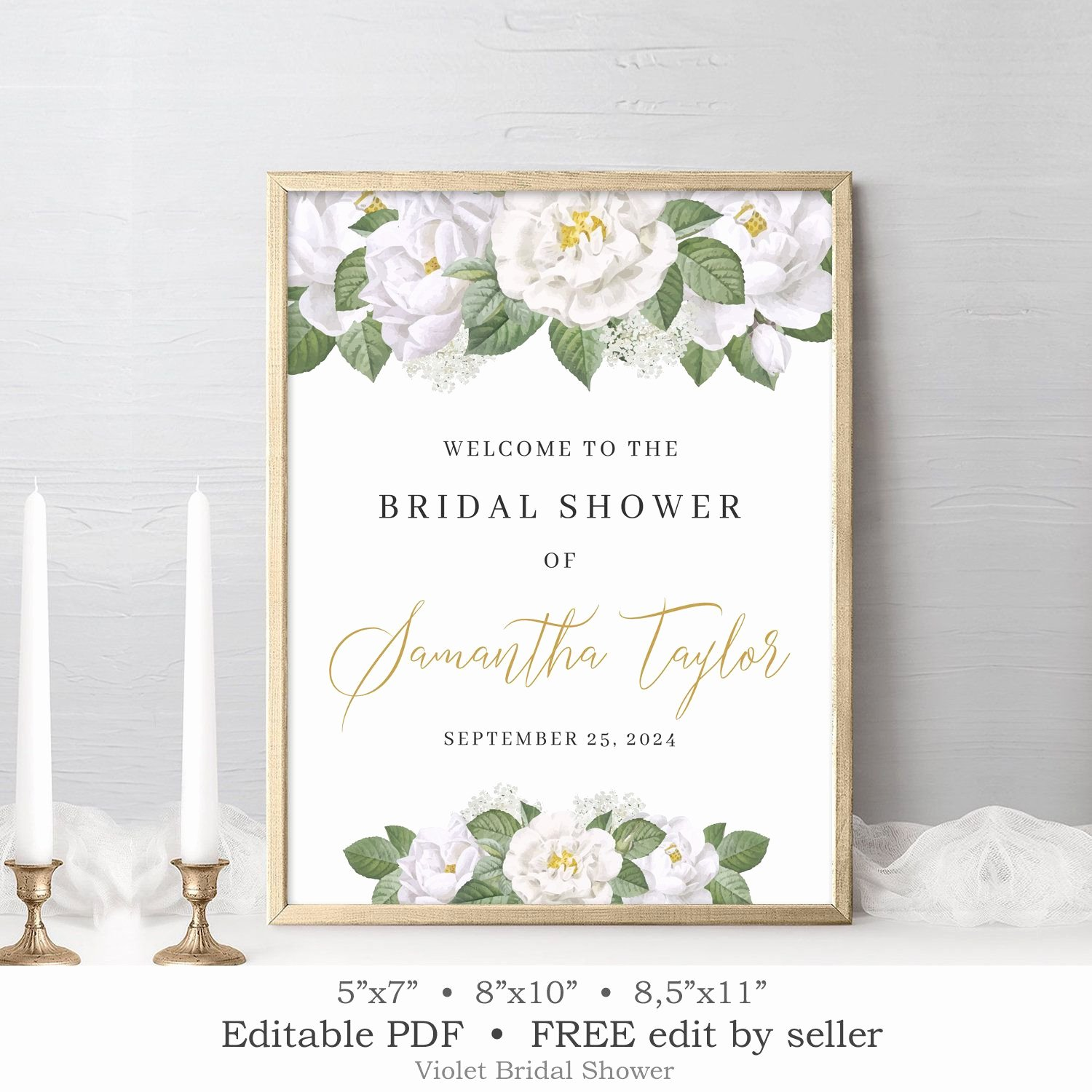 Bridal Shower Welcome Sign Template New Greenery Wel E Sign Printable Editable Brdial Shower