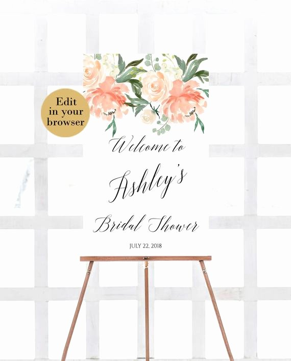 Bridal Shower Welcome Sign Template Unique Wel E Bridal Shower Template Editable Bridal Shower Sign