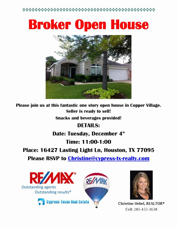Broker Open House Flyer Awesome Broker Open House – tomorrow – Cypress Texas Real Estate