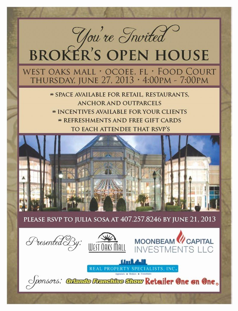 Broker Open House Flyer Fresh Broker's Open House at West Oaks Mall