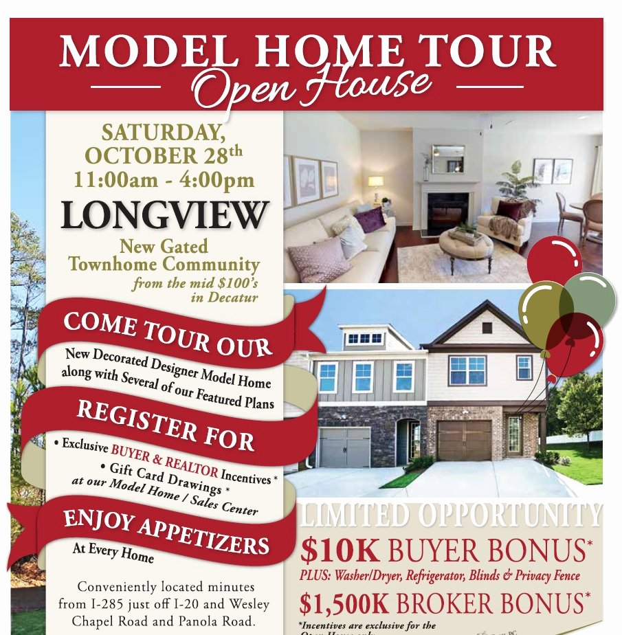 Broker Open House Flyer Fresh Model Home tour and Open House at Longview $10k Buyer