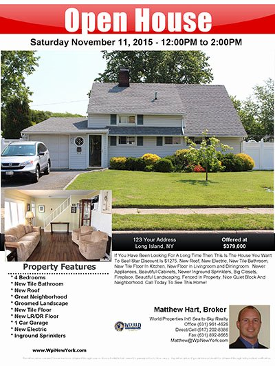 Broker Open House Flyer Inspirational Buy Long island Flat Fee Mls Listing Service