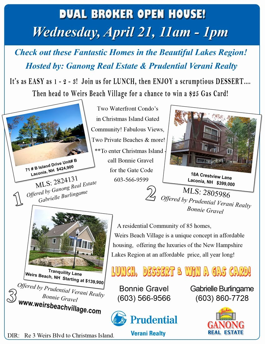 Broker Open House Flyer Unique Weirs Beach Village Dual Broker Open House April 21